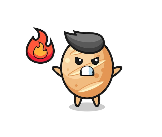 French bread character cartoon with angry gesture , cute design