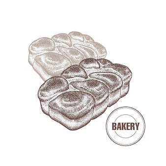 Французские булочки булочки винтажная графика.