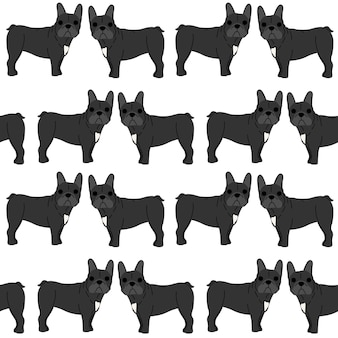 French bulldog in action, seamless pattern