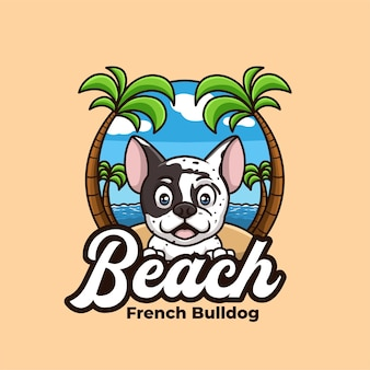 Французский бульдог креативный мультфильм пляж праздник отпуск дизайн логотипа