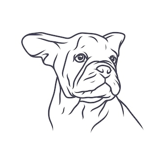 French bulldog dog - vector logo/icon illustration mascot