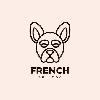 French bulldog geometric monoline logo design