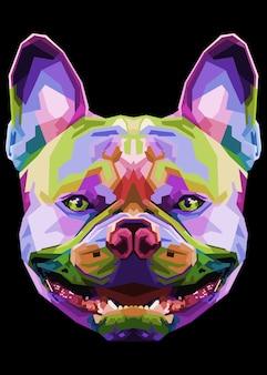 French bulldog on geometric pop art style