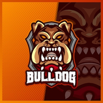 フレンチブルドッグヘッドマスコットeスポーツロゴデザインイラストテンプレート、犬のロゴ