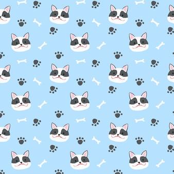 French bulldog seamless pattern background