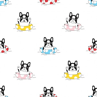 French bulldog seamless pattern swimming ring