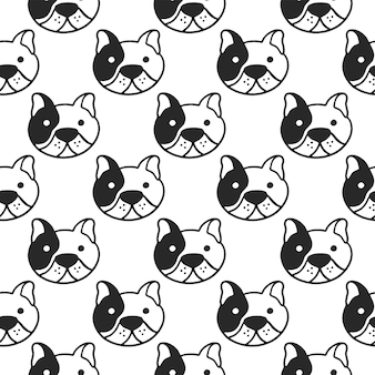 French bulldog seamless pattern.