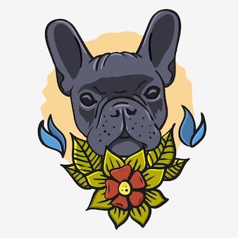 French bulldog vintage traditional tattoo