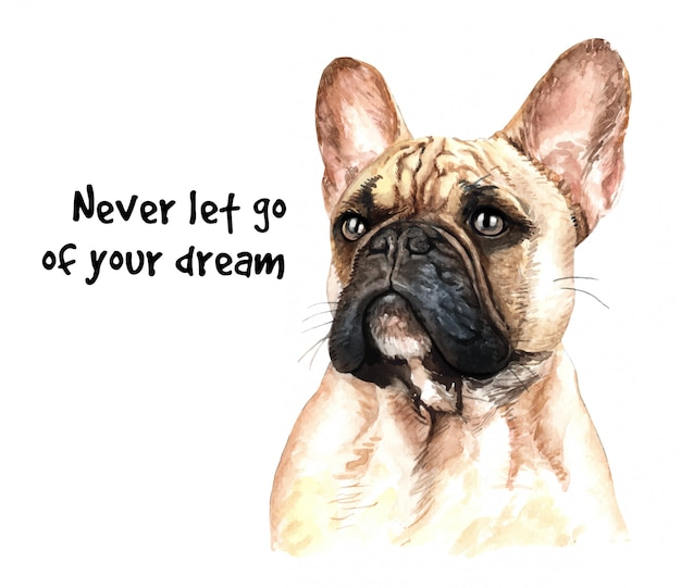 French bulldog watercolor for printing.