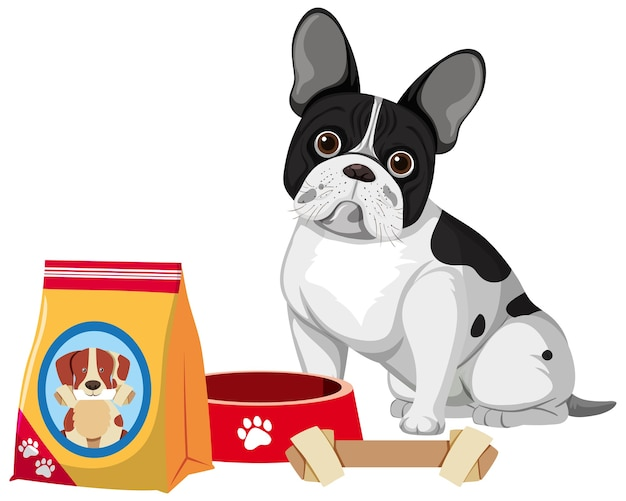Французский бульдог с кормом для собак и костяной игрушкой на белом фоне