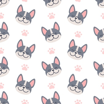 French bulldog with footprint seamless pattern