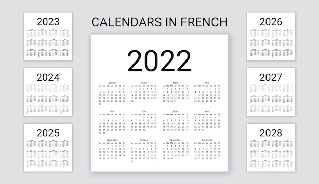 French calendar 2022, 2023, 2024, 2025, 2026, 2027, 2028 years. vector illustration. template planner.