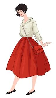 Французский стиль одежды женщина в юбке и рубашке