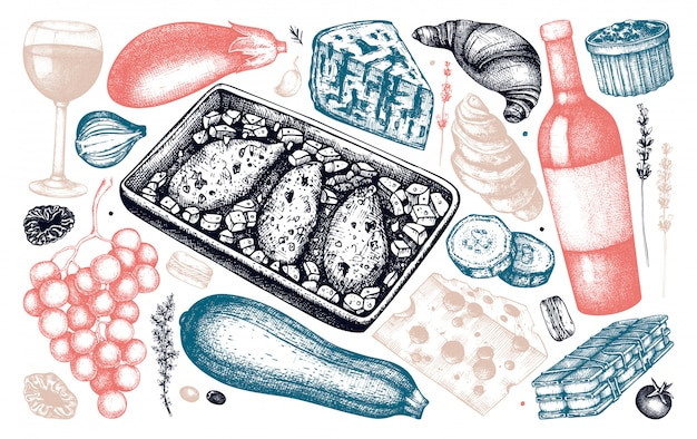 Коллекция эскизов блюд и ингредиентов французской кухни. рисованной иллюстрации еды и напитков. урожай французский ресторан еда и напитки элементы меню. набор стилей с гравировкой.