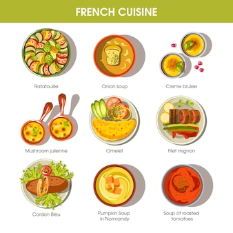 French cuisine food dishes for menu vector templates