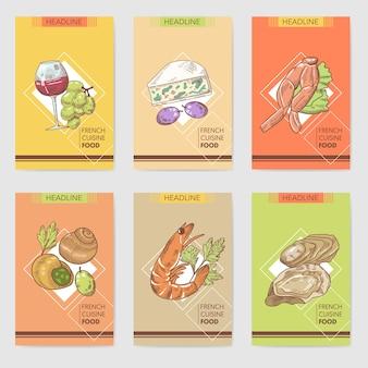 Набор рисованной французской кухни