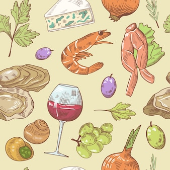 French cuisine hand drawn