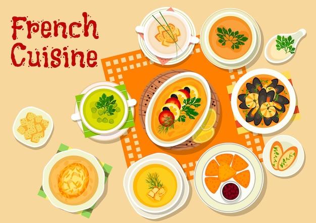 양파 스프를 곁들인 프랑스 요리 런치 메뉴