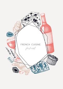 フランス料理メニュー。手描きの食べ物や飲み物のお祭り料理のイラスト。ビンテージスタイルのフランス料理と飲み物のレストランメニューテンプレート。黒板の背景