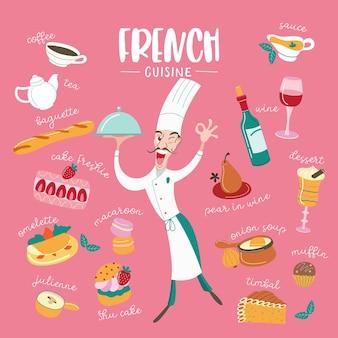 프랑스 요리. 벡터 일러스트 레이 션. 비문과 함께 전통적인 프랑스 요리의 큰 세트. 요리사는 이 요리가 얼마나 맛있는지를 나타내는 손짓을 합니다.
