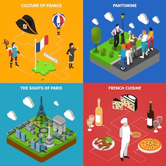 French culture isometric icons square