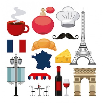 French culture set icons