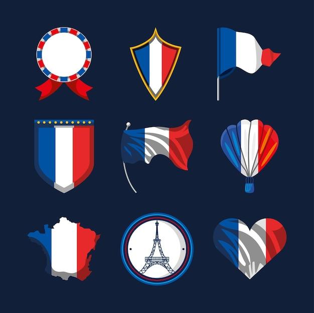 French flag heart balloon shield