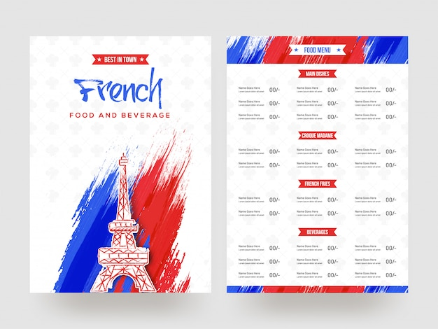 French food and beverage menu card design.