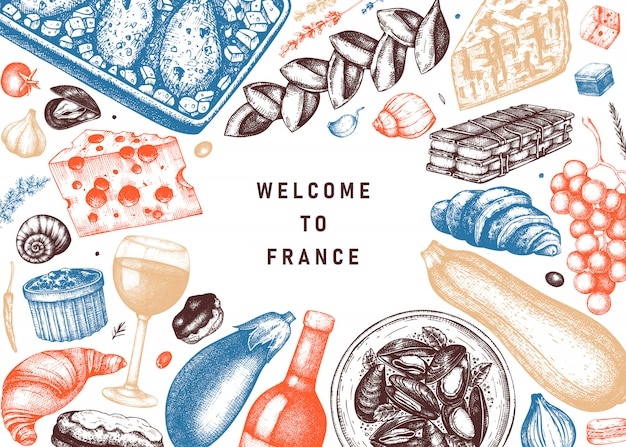 French food and drinks bframe in color. engraved style meat dishes, snacks, desserts, beverages sketches. french cuisine food illustrations template. restaurant, delivery, store vintage menu .