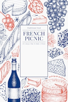 French food illustration design. hand drawn picnic meal illustrations. engraved style different snack and wine. vintage food background.