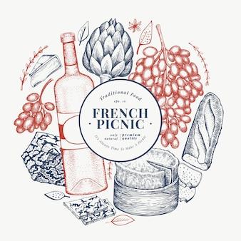 フランス料理のイラストデザインテンプレート。刻まれたスタイルの異なるスナックとワインのバナー。ビンテージ食品の背景。