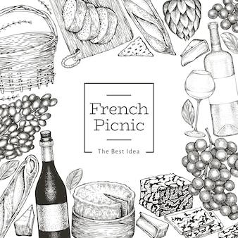 Французская еда шаблон дизайна иллюстрации. нарисованные рукой иллюстрации еды пикника. выгравированный стиль отличается легкой закуской и винным баннером. винтажная еда фон.