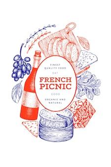 フランス料理イラストデザインテンプレート。手描きのピクニックミールのイラスト。刻まれたスタイルの異なるスナックとワインのバナー。ヴィンテージ料理の背景。