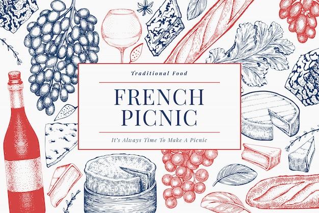 Французская еда шаблон дизайна иллюстрации. нарисованные рукой иллюстрации еды пикника. выгравированный стиль отличается закуской и винным баннером.