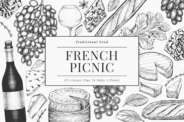 French food illustration design template. hand drawn  picnic meal illustrations. engraved style different snack and wine . vintage food background.
