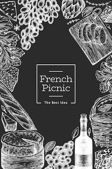 프랑스 음식 일러스트 디자인 서식 파일입니다. 분필 보드에 손으로 그린 피크닉 식사 삽화. 새겨진 스타일 다른 간식 및 와인 배너. 빈티지 음식 배경입니다.