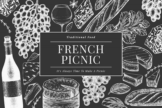 Французская еда шаблон дизайна иллюстрации. нарисованные рукой иллюстрации еды пикника на доске мела. выгравированный стиль отличается закусками и вином. винтажная еда фон.