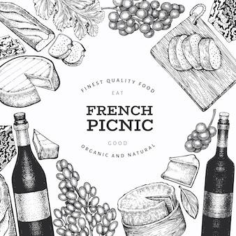 Шаблон дизайна иллюстрации французской кухни. ручной обращается векторные иллюстрации еды для пикника. гравированный стиль различных закусок и винных баннеров. старинный продовольственный фон.