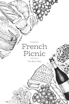 French food illustration design template. hand drawn vector picnic meal illustrations. engraved style different snack and wine banner. vintage food background.