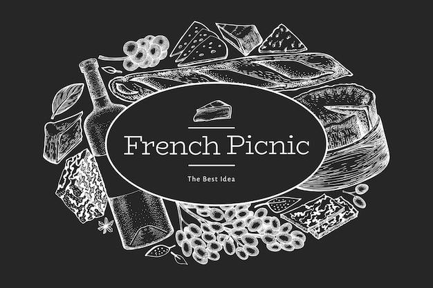 フランス料理イラストデザインテンプレート。