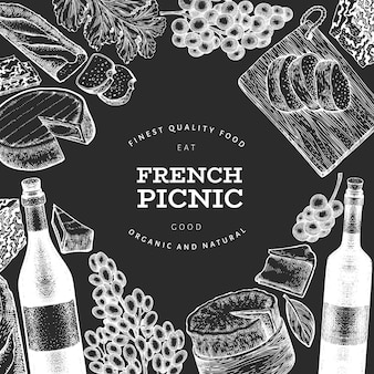 フランス料理イラストデザインテンプレート。 Premiumベクター