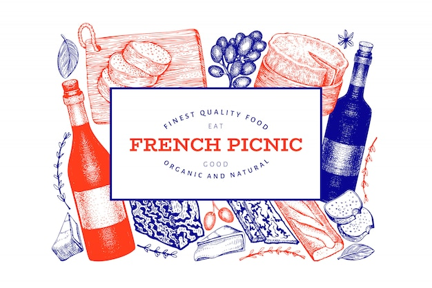 French food illustration design with engraved style different snack and wine