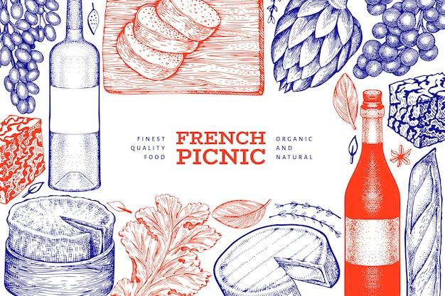 フランス料理のイラスト。手描きのピクニック食事のイラスト。刻まれたスタイルの異なるスナックとワインのバナー。ヴィンテージ料理の背景。