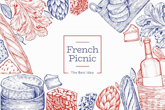 프랑스 음식 그림입니다. 손으로 그린 피크닉 식사 삽화. 새겨진 스타일 다른 간식 및 와인 빈티지 음식 배경입니다.