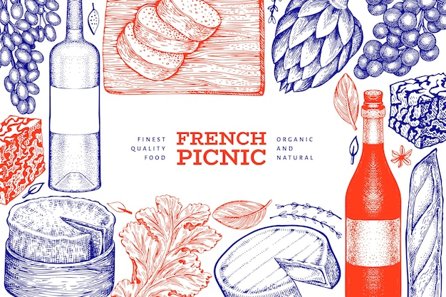 French food illustration. hand drawn picnic meal illustrations. engraved style different snack and wine banner. vintage food background.