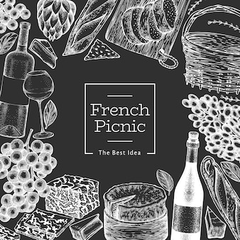 French food illustration  template. hand drawn  picnic meal illustrations on chalk board. engraved style different snack and wine banner. vintage food background.