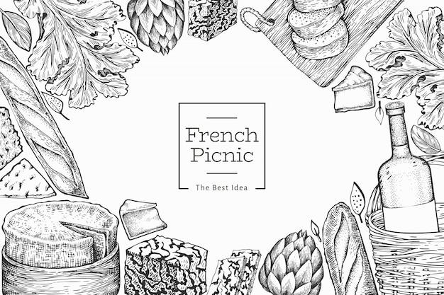 フランス料理イラストテンプレート。手描きのピクニック食事のイラスト。刻まれたスタイルの異なるスナックとワインのバナー。ヴィンテージ食品の背景。