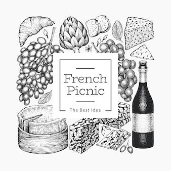 フランス料理イラストテンプレート。手描きのピクニック食事のイラスト。刻印スタイルが違うスナックとワイン。