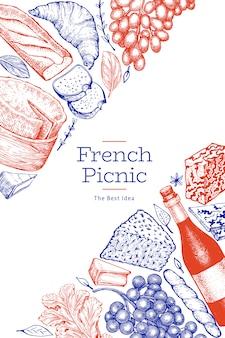 Французская еда иллюстрации шаблон. нарисованные рукой иллюстрации еды пикника. выгравированный стиль отличается закусками и вином.