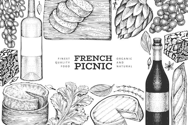 フランス料理イラストテンプレート。手描きのピクニックミールのイラスト。刻印されたスタイルの異なるスナックとワイン。 Premiumベクター